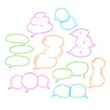 Round Speech Bubbles-02. Set of hand-drawn oval speech bubbles, vector abstract illustration of rounded speech bubbles, EPS 8 royalty free illustration