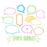 Round Speech Bubbles 2-02. Set of hand-drawn oval speech bubbles, vector abstract illustration of rounded speech bubbles, EPS 8 royalty free illustration