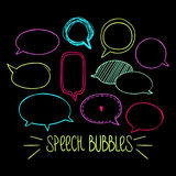 Round Speech Bubbles 2-04. Set of hand-drawn oval speech bubbles, vector abstract illustration of rounded speech bubbles, EPS 8 royalty free illustration