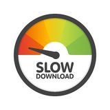 Round Speedometer slow download speed. Vector illustration template Stock Photo