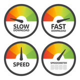 Round Speedometers set with slow and fast speed download. Vector illustration Stock Photos