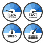 Round Speedometers set with slow and fast speed download. Vector illustration Royalty Free Stock Photo
