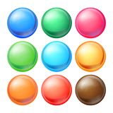 Round Spheres Set Vector. Set Opaque Multicolored Spheres With Glares, Shadows. Abstract Ellipse, Ball, Bubble, Button. Badge. Isolated Illustration Royalty Free Stock Photo