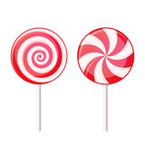 Round Spiral Candy Lollipop. Red and White on Stock Images