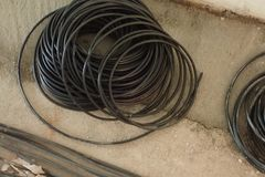 Round spirala czarny elektryczny drut obrazy royalty free