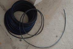 Round spirala czarny elektryczny drut zdjęcie stock