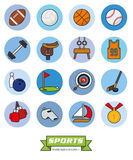 Round sports filled line icons vector set 1. Collection of sports filled line vector icons in blue toned circles royalty free illustration
