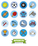 Round sports filled line icons vector set 2. Collection of sports filled line vector icons in blue toned circles royalty free illustration
