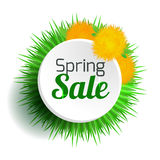 Round spring banner with grass and dandelions. Spring sale. Discounts. Vector element for your design Royalty Free Stock Image