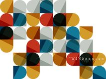 Round square geometric shapes on white, tile mosaic abstract background vector illustration
