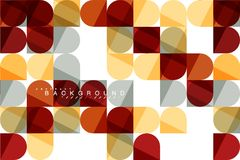 Round square geometric shapes on white, tile mosaic abstract background royalty free illustration