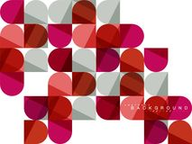 Round square geometric shapes on white, tile mosaic abstract background stock illustration
