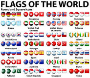 Round and square icons of flags of the world Royalty Free Stock Photography