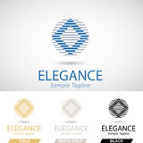 Round and Square Logo Icon with Striped Pattern Royalty Free Stock Images