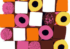 Round and square sweeets. Illustration of round and square sweets all together Stock Image