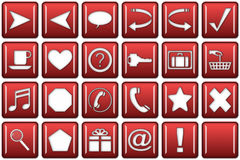 Round Square Website Button Set. Glassy, red, rounded square website buttons, navigation menu tools. Blank button included Stock Images