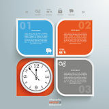 Round Squares 4 Options Hole Bulb Clock. Infographic design with clock and round quadrates on the gray background stock illustration