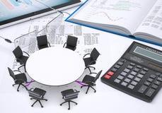 Round stół, pastylka komputer osobisty, książka, kalkulator, szkła Zdjęcia Royalty Free