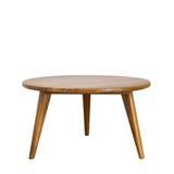 Round stół z drewnianymi nogami na białym tle Fotografia Royalty Free
