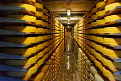 Round stacks of cheese curing in a cellar of Maison du Gruyere c Stock Images