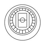 Round stadium top view icon, outline style. Round stadium top view icon in outline style on a white background vector illustration Royalty Free Stock Photos