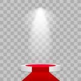 Round stage podium illuminated with light on transparent background. Stage  backdrop. Festive podium scene with red carpet. For award ceremony. Vector Stock Image