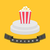 Round stage podium. Popcorn red white box. Film strip ribbon. Pedestal for display. 3d realistic platform design. . Yellow. Background. Flat Vector illustration Stock Image