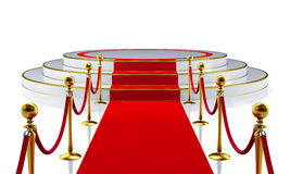Round stage with red carpet Stock Image