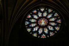 Round stained glass window in the Cathedral in Bristol on May 14, 2019 stock photo