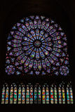 Round stained glass window in the Notre Dame de Paris Royalty Free Stock Photos