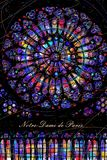 Round stained glass window `Rose` of the Cathedral of Notre-Dame de Paris stock illustration