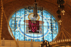 Round stained glass window of St. Nicholas Cathedral. Stock Images