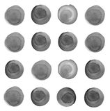 Round stains, blobs of grey color. Set of colorful watercolor hand painted circle isolated on white. Watercolor Illustration for artistic design. Round stains stock photos