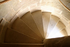 Round Stairs. In a tower, Carcassonne, Languedoc Roussillion, France stock images