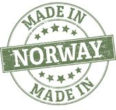 Made in norway round seal. ROUND STAMP IN GRUNGY STYLE Royalty Free Stock Image