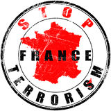 Round stamp with a message stop terrorism in France stock photos