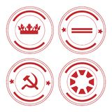 Round stamp set. Vector illustration set, collection of four red round rubber stamps isolated on white background Royalty Free Stock Photo