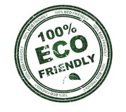 Round stamp with text: 100% Eco Friendly Stock Photo