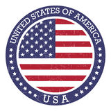 Round stamp of United States of America- USA. Round grunge stamp of United States of America- USA. Vector Royalty Free Stock Photo