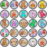 Round stamps with teddies Stock Image