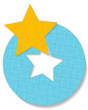 Round Star Circle Jigsaw Puzzle. Pieces form a gold star above a round blue jigsaw puzzle vector illustration