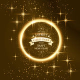 Round star frame with Merry Christmas typography Royalty Free Stock Photography