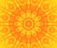 Round star ornament bright yellow orange centered Stock Photos
