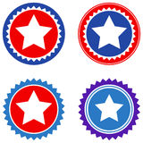 Round Star Seal Stamp Flat Icons Stock Photo