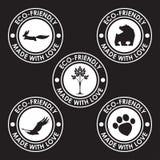 Round stary zniekształca eco życzliwych znaczki Natura, zwierzęcy produkty Fotografia Stock