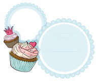 A round stationery with two cupcakes Stock Photo