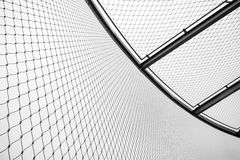 Round steel chain link fence and ceiling, restricted Stock Photo
