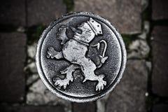 Round steel medallion (roundel) in Gent, Flanders, Belgium Stock Image