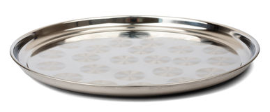 Round steel tray. Isolated on white background, side view stock photo