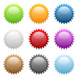 Round sticker icons. Set of various colored round sticker icons Royalty Free Stock Photography